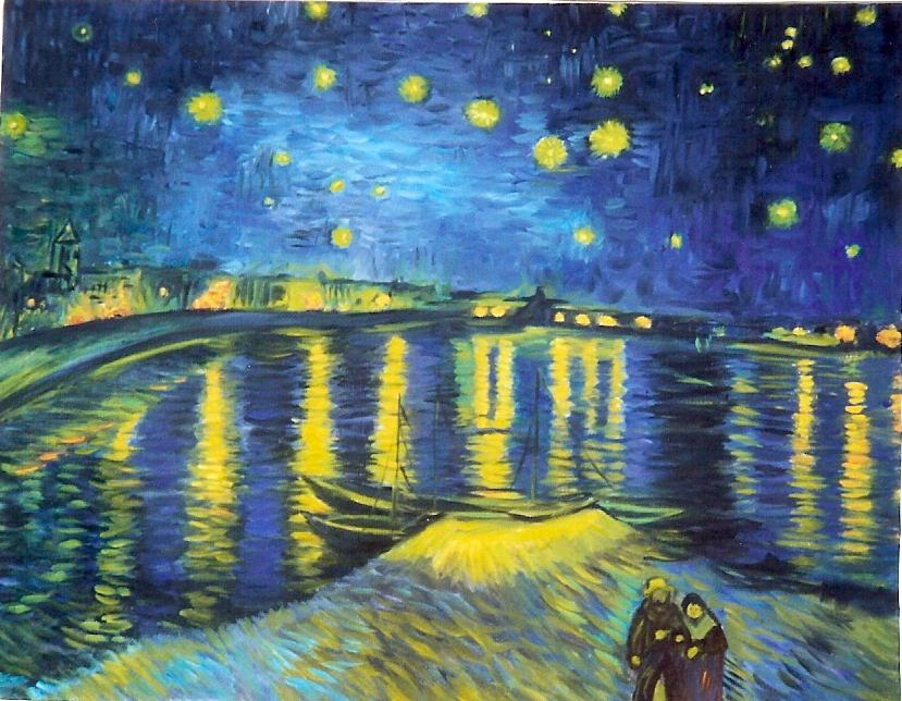 Notte stellata sul rodano van gogh copie d 39 autore a mano for La notte stellata vincent van gogh